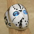 316L Stainless Steel Halloween Jason Mask Hockey Blue CZ Eyes Mens Biker Rocker Punk Ring 3F101