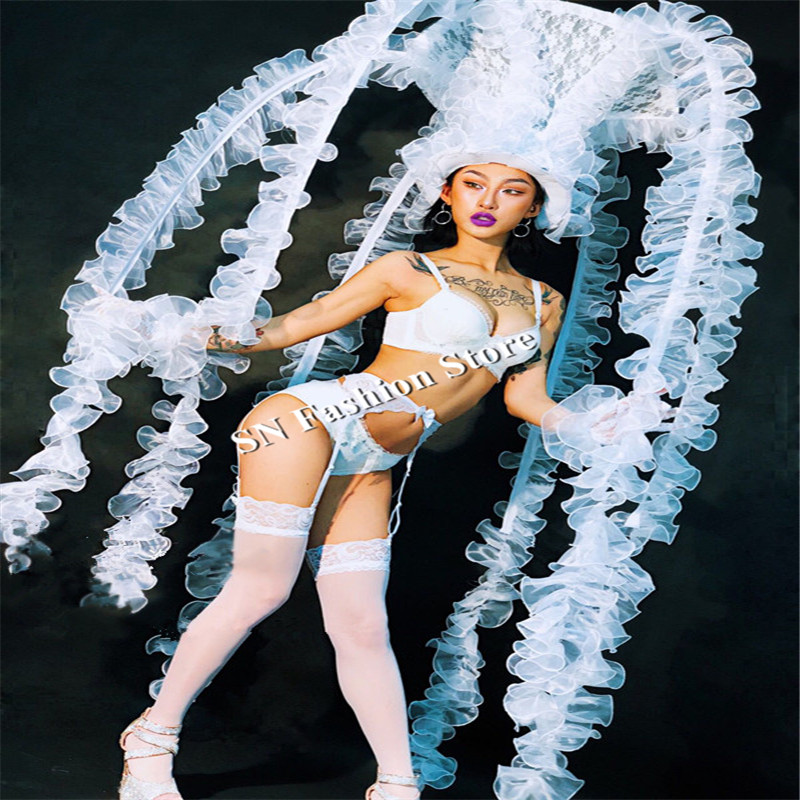 DC29 Ballroom dance costumes led factory catwalk models performance show wears sexy dresses bar club stage skirt bikini bra dj