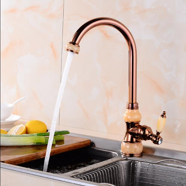 Brass and Jade Kitchen faucet gold Copper water tap hot cold Sink faucet Vegetable washing basin sink mixer rotating faucet