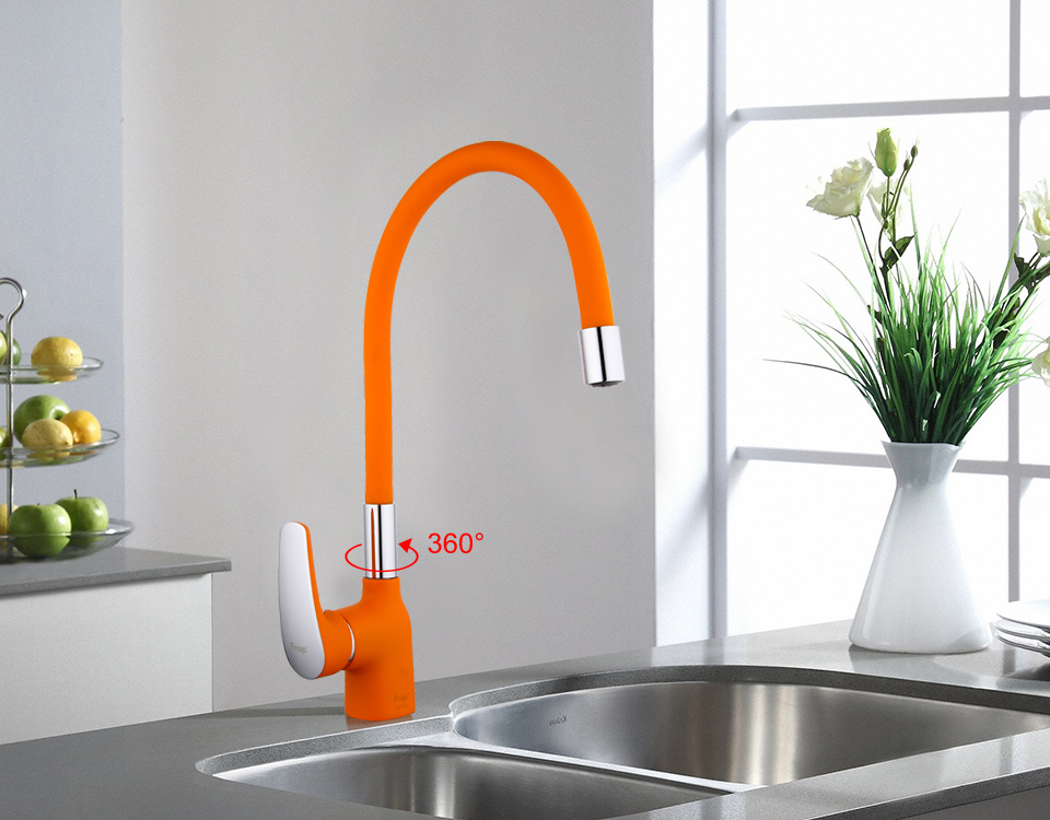 US $37 16 45% OFF|Frap New Arrival Orange Silica Gel Nose Any Direction  Kitchen Faucet Cold and Hot Water Mixer Torneira Cozinha Crane F4453 02-in