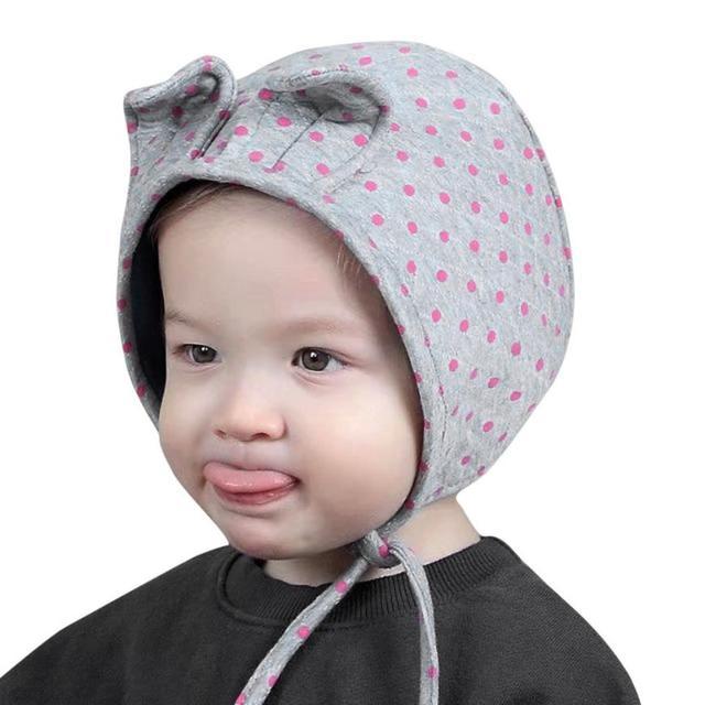 6754386235f 2018 Fashion Cotton Baby Boy Girl Hair Ball Cat Ears Cute Cap Earbud Hat  Child Print Knit Hats Hot Sale
