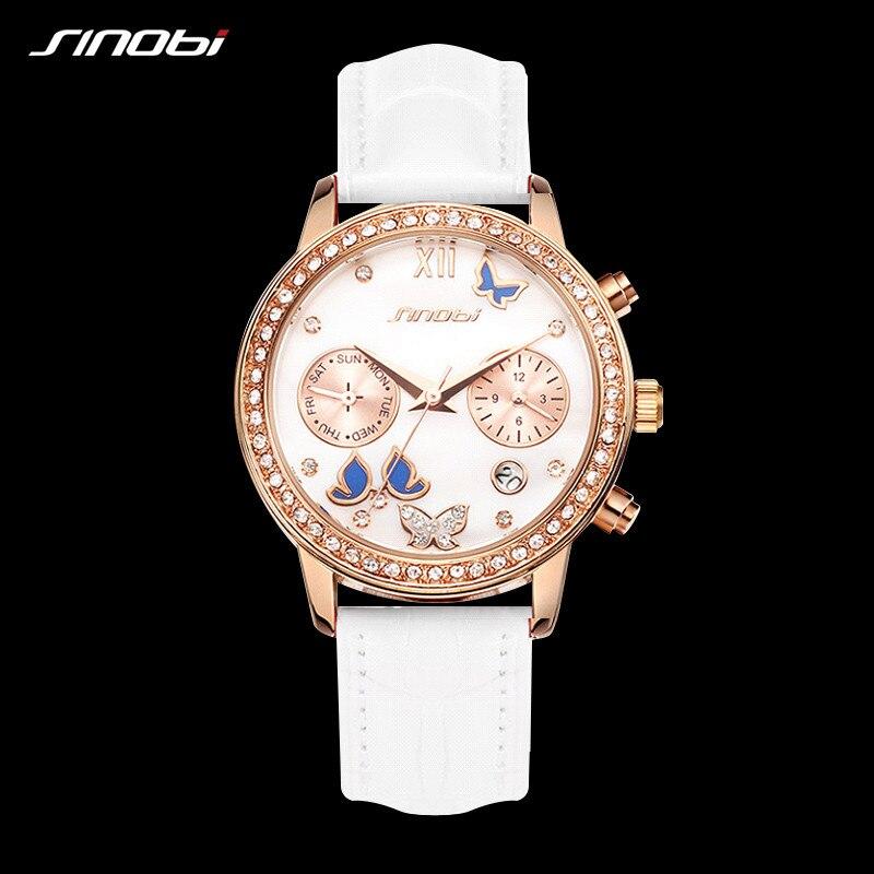 Sinobi Women Quartz Wrist Watch Top Luxury Brand Female Chronograph Clocks Elegant Classic  Lady Watch Girl Watches Relogio SK19