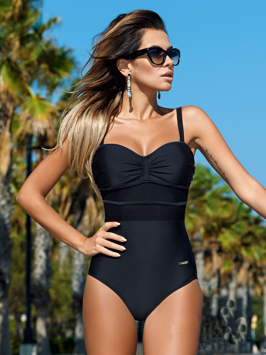 Black Friday Deals Women's Strap One-Piece Bandage Fish Net Thong Bikini Push Up Monokini Swimsuit Bathing Suit Swimwear
