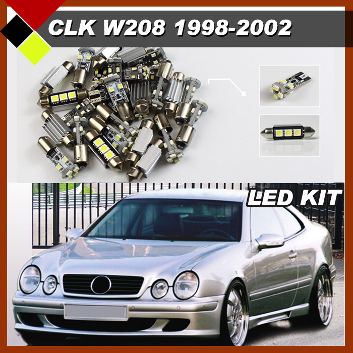 13Pcs SUV Car Interior Dome Map Trunk License Plate Glove Box Lights Canbus LED Kit Package White For CLK Class W208 1998-2002 free shipping 60 17x a4 s4 b5 1998 2001 white led lights interior package kit canbus