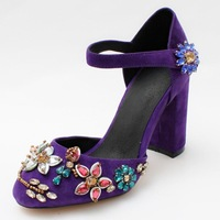 2016 New Spring Bridal Red Purple Lace Platform Party Shoes For Women Summer Woman Rhinestone High