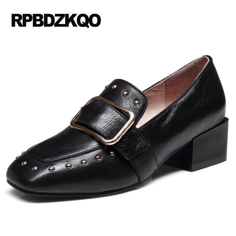 Block High Heels Rivet 2017 Runway Medium Belts Square Toe Brown Brand Women Shoes Black Stud Top Quality Pumps Genuine Leather selens pro 100x100mm 12nd square medium