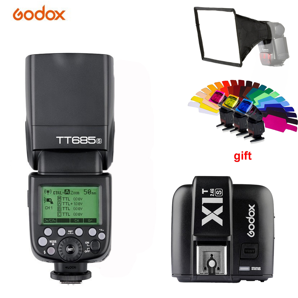 Godox TT685S 2.4G HSS 1/8000s i-TTL GN60 Wireless Speedlite Flash+X1T-S Trigger for Sony A77II A7RII A7R A58 A9 A99 A6300 A6500 godox tt685s gn60 1 8000s hss ttl speedlite flash light godox x1t s wirless flash trigger mi shoe for sony dslr