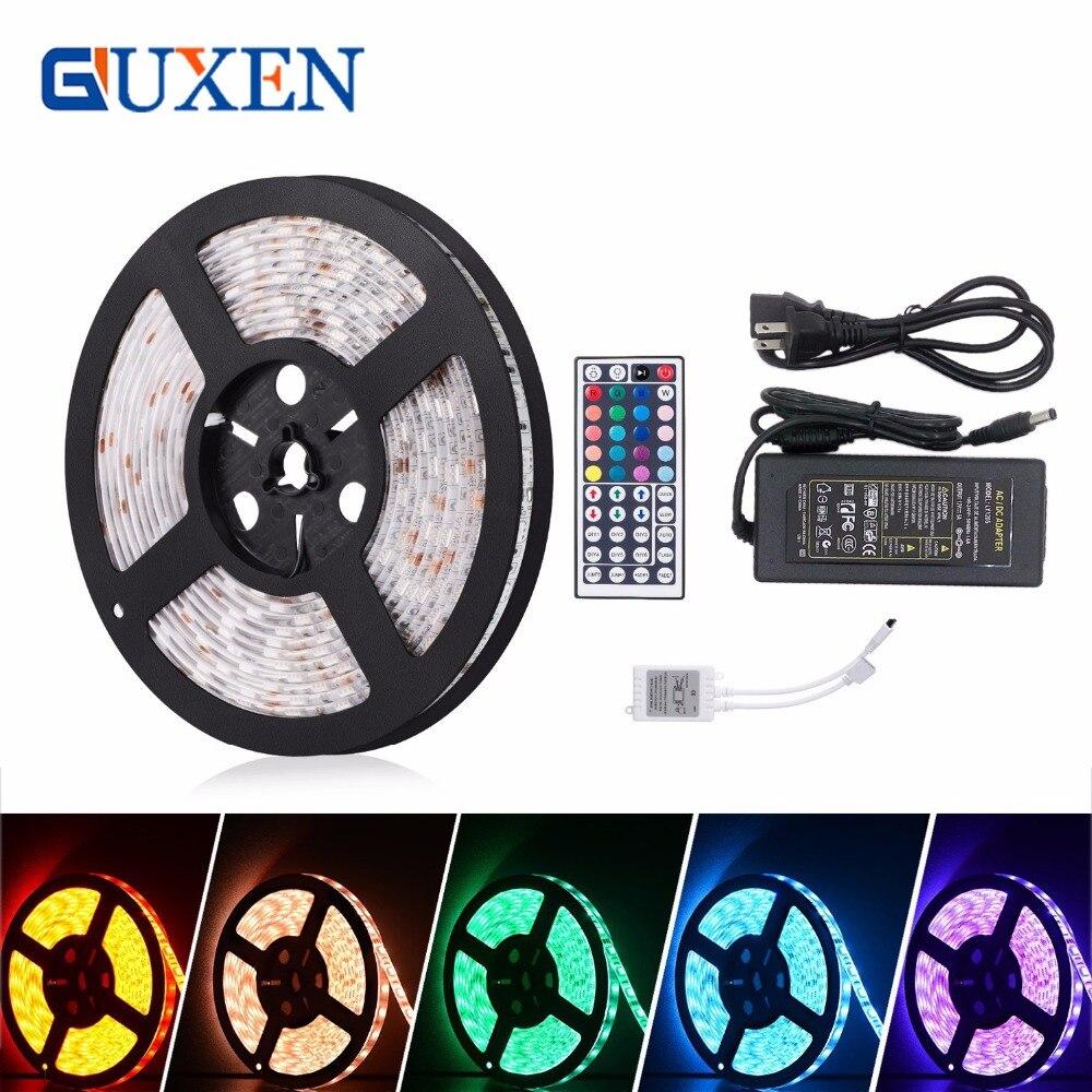GUXEN 5 M SMD5050 RGB Led Bande 300led/m DC12V Étanche 300 leds + 44key RGB LED contrôleur + 12 V 5A 60 W Power adapter