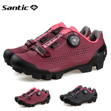 Santic Cycling Shoes Women Professional Mountain Bike MTB Rotating Lock Sneakers Breathable Black Sports Equipment