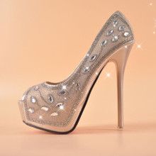 Champagne over drilling fish head shoes women 14 cm high with waterproof Taiwan fine with wedding shoes