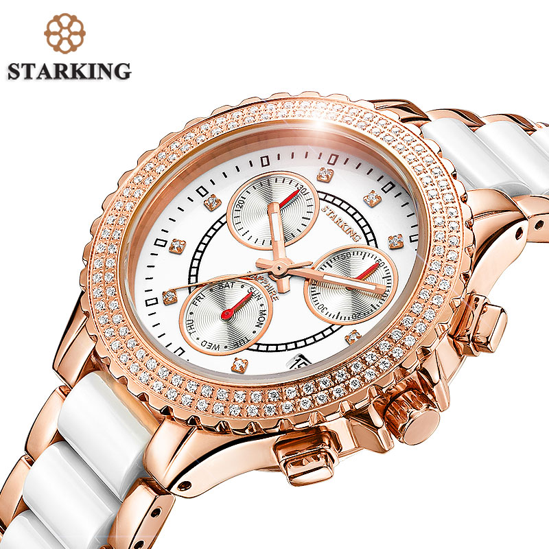 STARKING Luxury Brand Women Watches Rose Gold Bracelets Ladies Stainless Case High Quality Ceramic Watch Quartz Relogio Feminino new luxury ceramic watches men s quartz watch ladies fashion brand watches women s bracelets watch rose gold relogio feminino