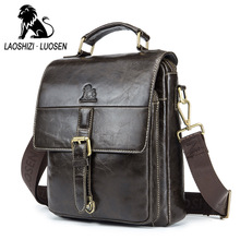 LAOSHIZI Soft Genuine Leather Men's Brand Design Crossbody & Shoulder Bags Business Bags Male Casual Top Handle Messenger Bags