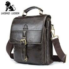LAOSHIZI Mjukt äkta läder Mäns märkesdesign Crossbody & Shoulder Bags Business Väskor Man Casual Top Handle Messenger Väskor