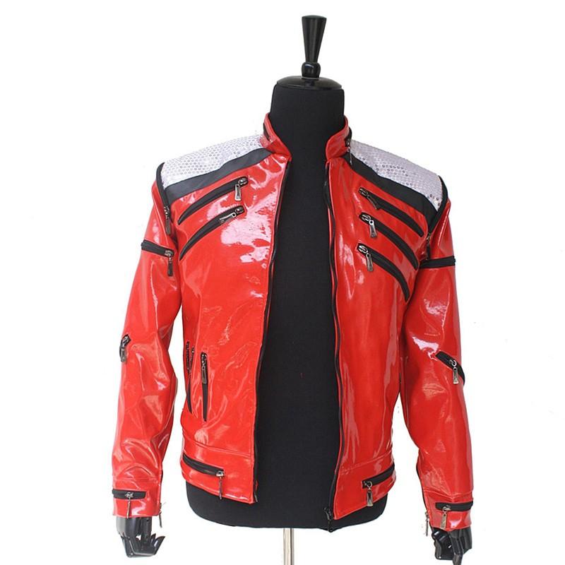 Rare MJ Michael Jackson Red Beat It Zipper Paillettes Giacca di ... 32b9568b4b0f