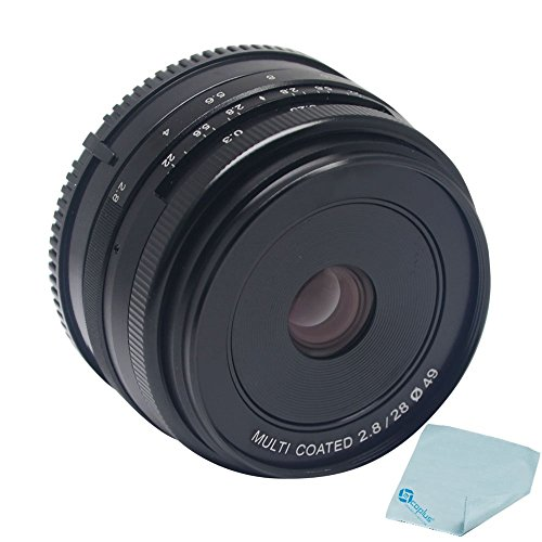 Mcoplus Meike MK-28-2.8 28mm f/2.8 fixed manual focus lens for APS-C Mirrorless Camera Canon Eos M1 M2 M3 with Cleaning cloth matin knit lens cleaning cloth