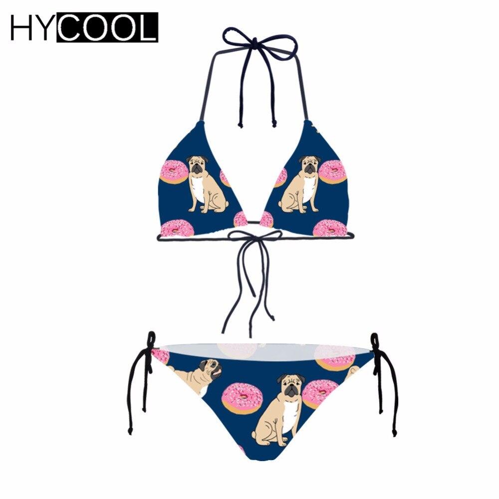 83c1da34bd8d Traje de baño Sexy hicool para mujer Bikini brasileño lindo perro Pug  estampado traje de baño femenino Push-Up traje de dos piezas abrigos