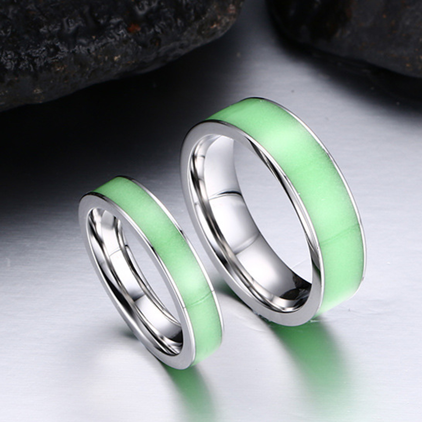 Green Silicone Luminous Mood Glow In The Dark Rings Womens Men Stainless  Steel Wedding Ring Engagement Band Fashion Jewelry Gift In Rings From  Jewelry ...