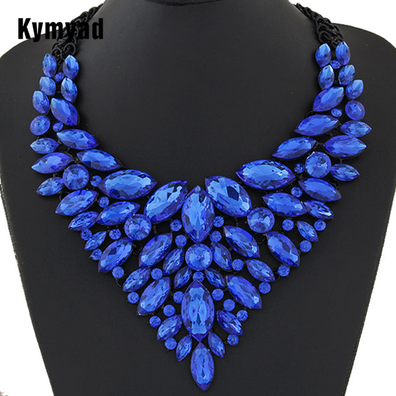 Kymyad Big Women Collier Femme Necklaces Pendant Blue Red Statement Bijoux New Crystal Jewelry Choker Maxi Boho Vintage Jewellry
