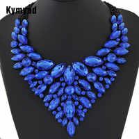 Kymyad grandes femmes Collier Femme colliers pendentif bleu rouge déclaration Bijoux nouveau cristal Bijoux Choker Maxi Boho Vintage Bijoux