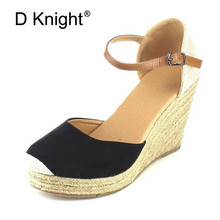Women Platform Wedges Sandals 2019 New High Heels Gladiator Sandals Women Espadrilles Rome Buckle Strap Summer Straw Shoes Woman стоимость