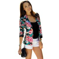 Women Floral Blazer Jacket 2017 New Casual Female Suit Ladies Plus Size One Button Slim Suit