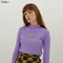Nibber Kadınlar Nervürlü Örme uzun kollu üst T-shirt Sonbahar Kış Zarif mor vahşi en sıcak satış nakış Balıkçı Yaka Tişört