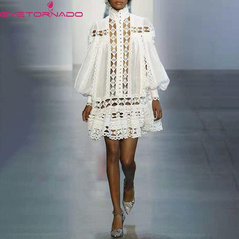 Femmes évider dentelle robe de soirée lanterne manches blanc Mini robes mode Chic Streetwear Club Boho robe E6802
