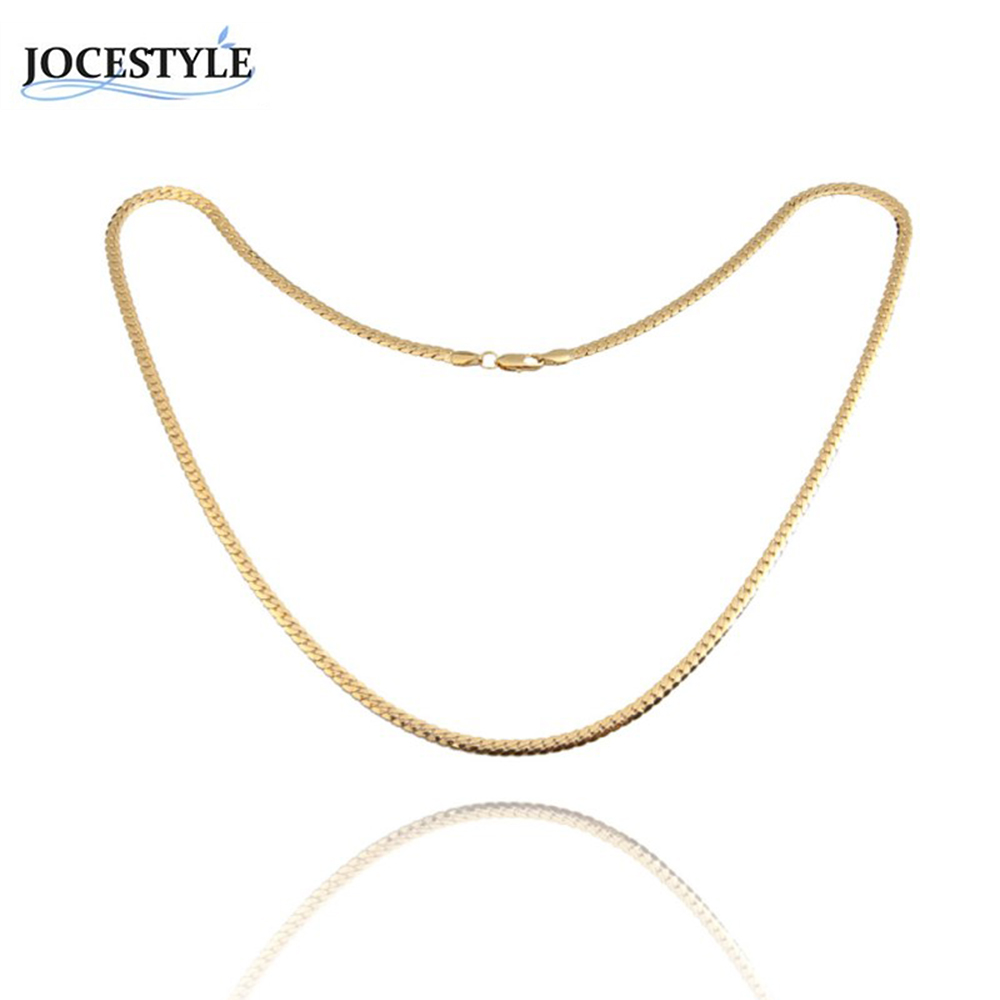 Women Simple Necklace Chain Necklace Fashion Design Flat Curb Chain Necklace Dress Sweater Accessories Wedding Ornament