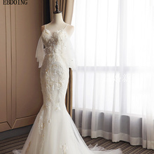 EBDOING Real Photo Wedding Dress Short Sleeves Sweep Train