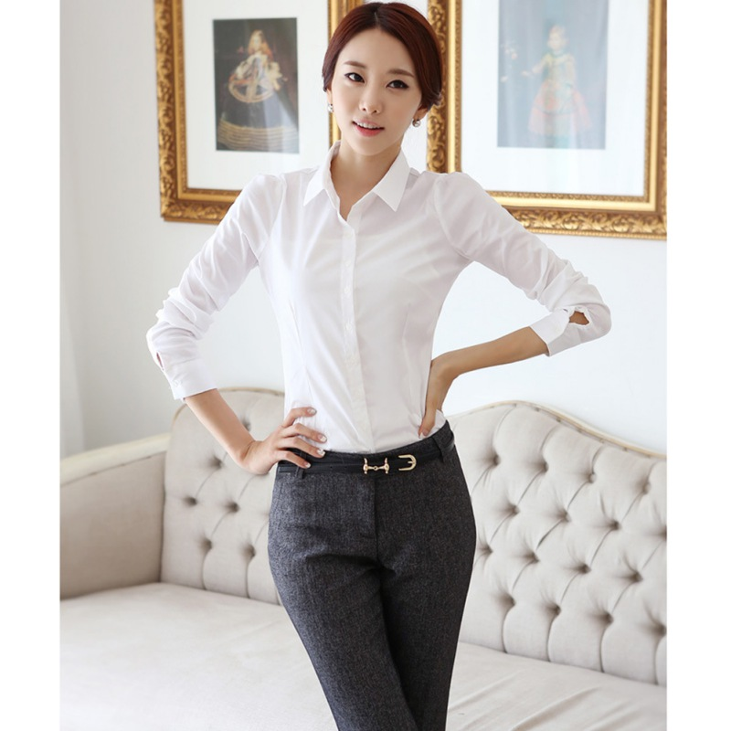 Popular Fashion Career Apparel White Blouse Shirt Women Casual Work Wear Long Sleeve Tops Office Lady Slim Blouses Shirts Vadim*