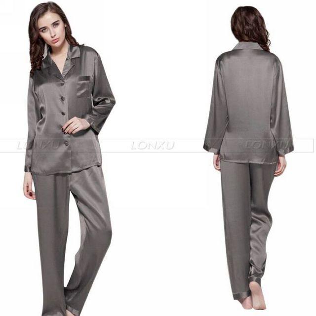 Женская Шелковый Атлас Пижамы Набор Пижамы Пижамы Набор Пижамы Loungewear S, M, L, XL, 2XL, 3XL Плюс Черный Насыщенный