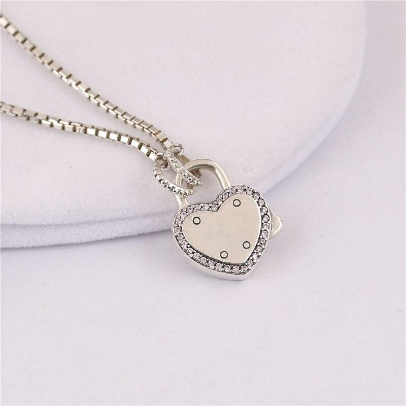 Tendance authentique 925 Sterling chandail chaîne serrure coeur collier Fit Original Pandora collier femmes bijoux à bricoler soi-même cadeau d'anniversaire