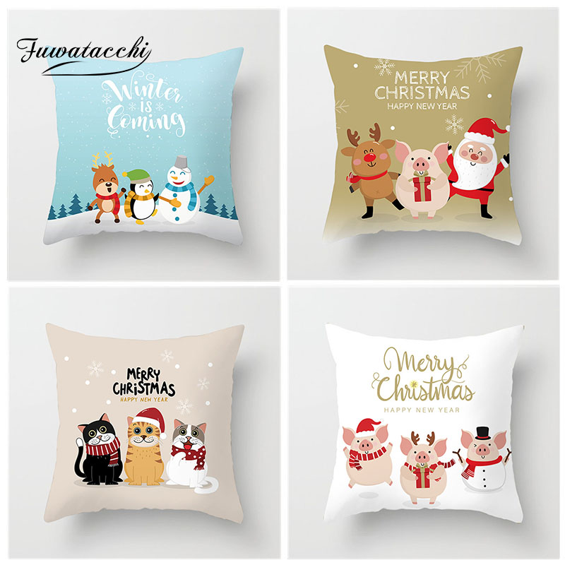 Fuwatacchi Cute Cartoon Animal Cushion Cover Polar Bear Cat Pig Deer Pillow Sofa Children Room Chair Decorative Pillowcase