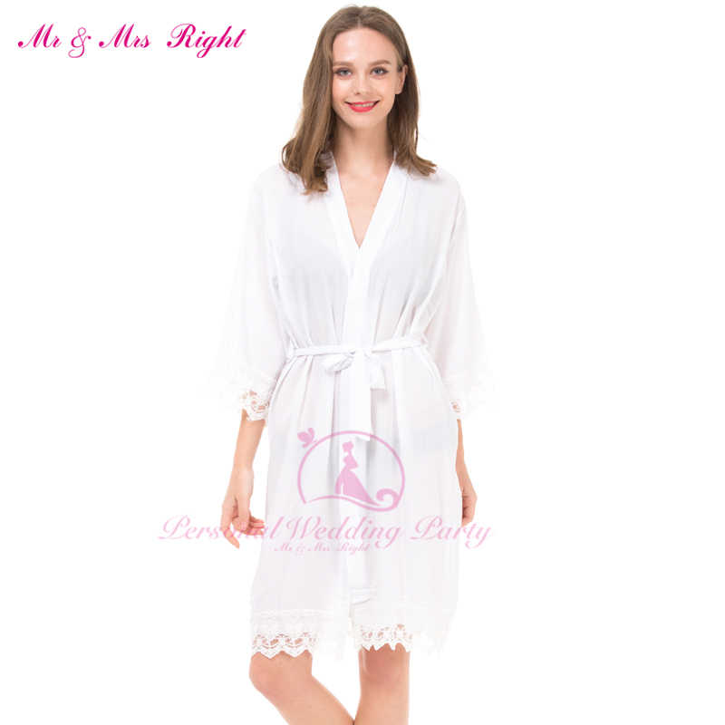 ff0e3798e2 Sexy Large Size Cotton Night Kimono Robe Lace Bathrobe Perfect Wedding  Bride Bridesmaid Robes Dressing Gown