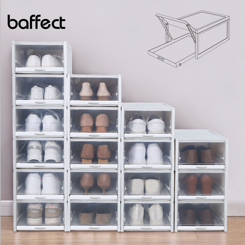 Baffect Woman Shoes Boxes Shoes Organizer Rack Storage Boxes Plastic Stackable Storage Drawers for Shoes High Heels   3 PCS/Set|Shoe Racks & Organizers| |  - title=