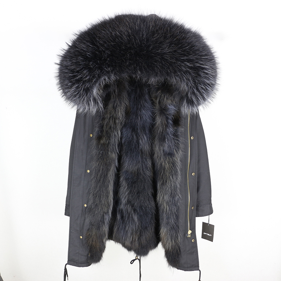 2019 Real Fur Coat Winter Jacket Women Long Parka Waterproof Big Natural Raccoon Fur Collar Hood Thick Warm Real Fox Fur Liner 133