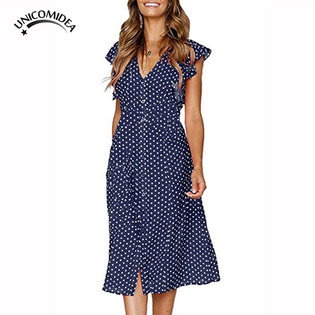 0941f7d9db4 Polka Dot Dress For Women Office Midi Dress 80s 2018 Vintage A-line Dress  Red Blue Yellow Ruffle Sleeve Vestidos Beach Sundress