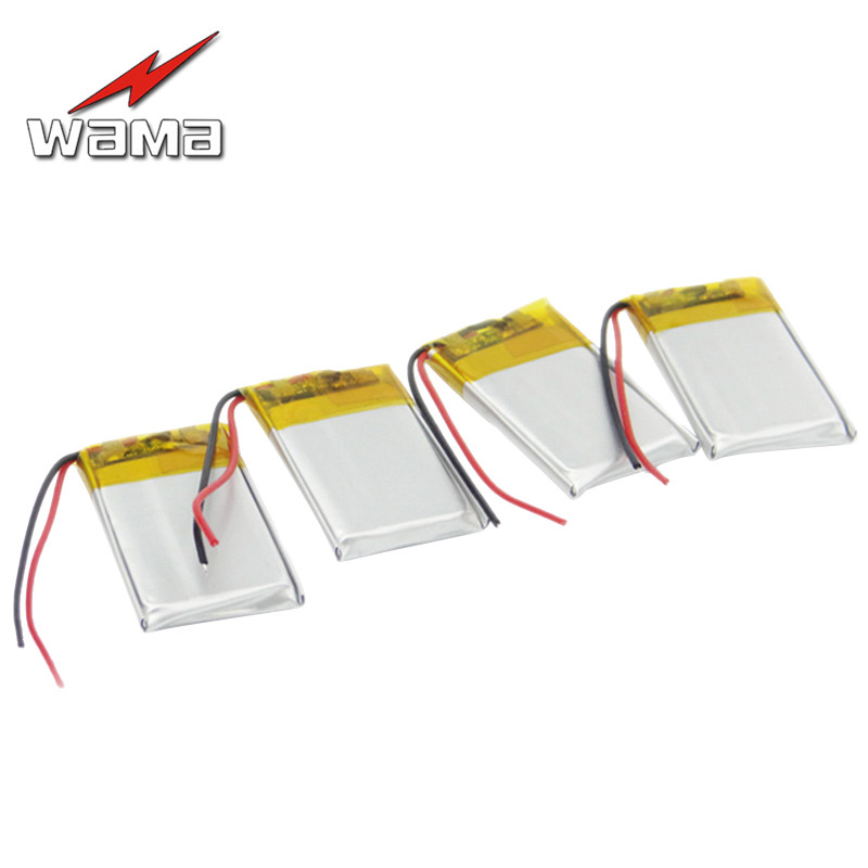 4pcs/lot Wama <font><b>402035</b></font> 240mAh Li-Polymer Over-Charging Protected 042035 <font><b>3.7V</b></font> Rechargeable <font><b>Batteries</b></font> for Bluetooth Speakers MP4 MP3 image