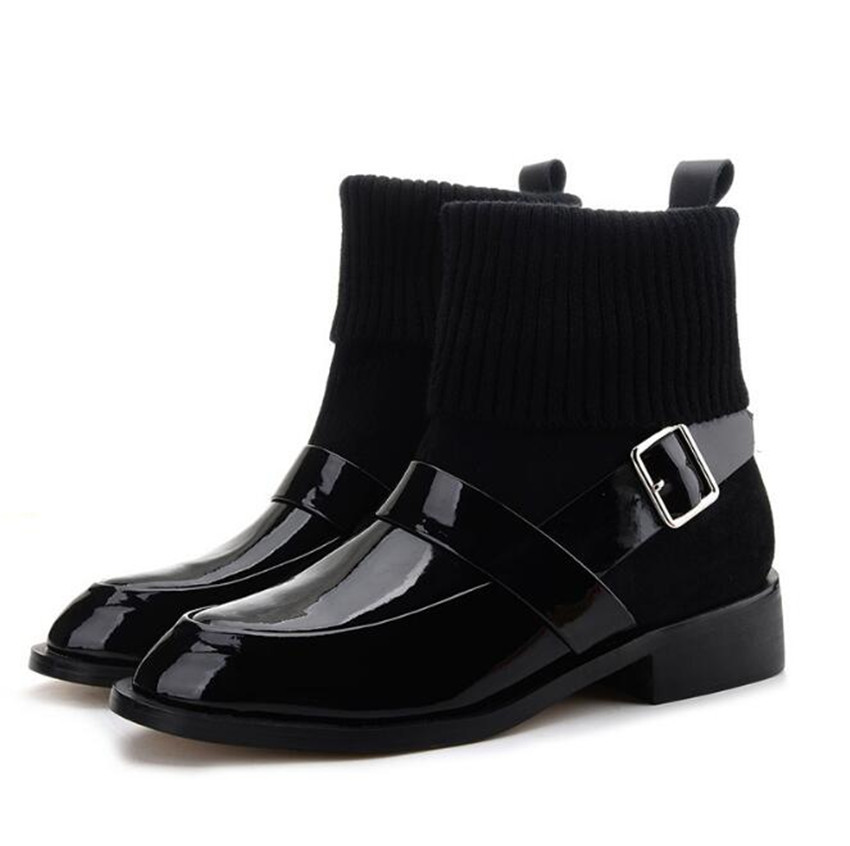 ZOUDKY Retro Thick bottom calf Martin Cashmere Coarse heel Round head Knitted short shoes