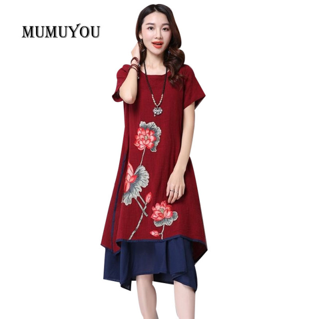 a6863e5a881 Women Embroidery Floral Short Sleeve Dress Chinese Style Cotton Linen O-Neck  Vintage Casual Summer Dresses Knee-Length 903-932