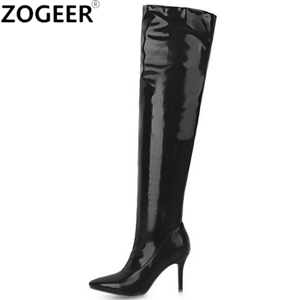 цена Plus Size 48 Thigh High Boots Women Fashion High Heels Over The Knee Boots Sexy Nightclub Dance Ladies Fetish Shoes Red White онлайн в 2017 году