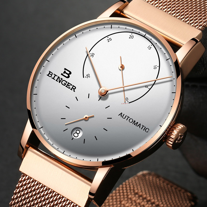 42mm Switzerland BINGER Men Watch Automatic Mechanical Mens Watches Male Japan Movement Rose gold relogio masculino B-1187G-3 đồng hồ binger bg54