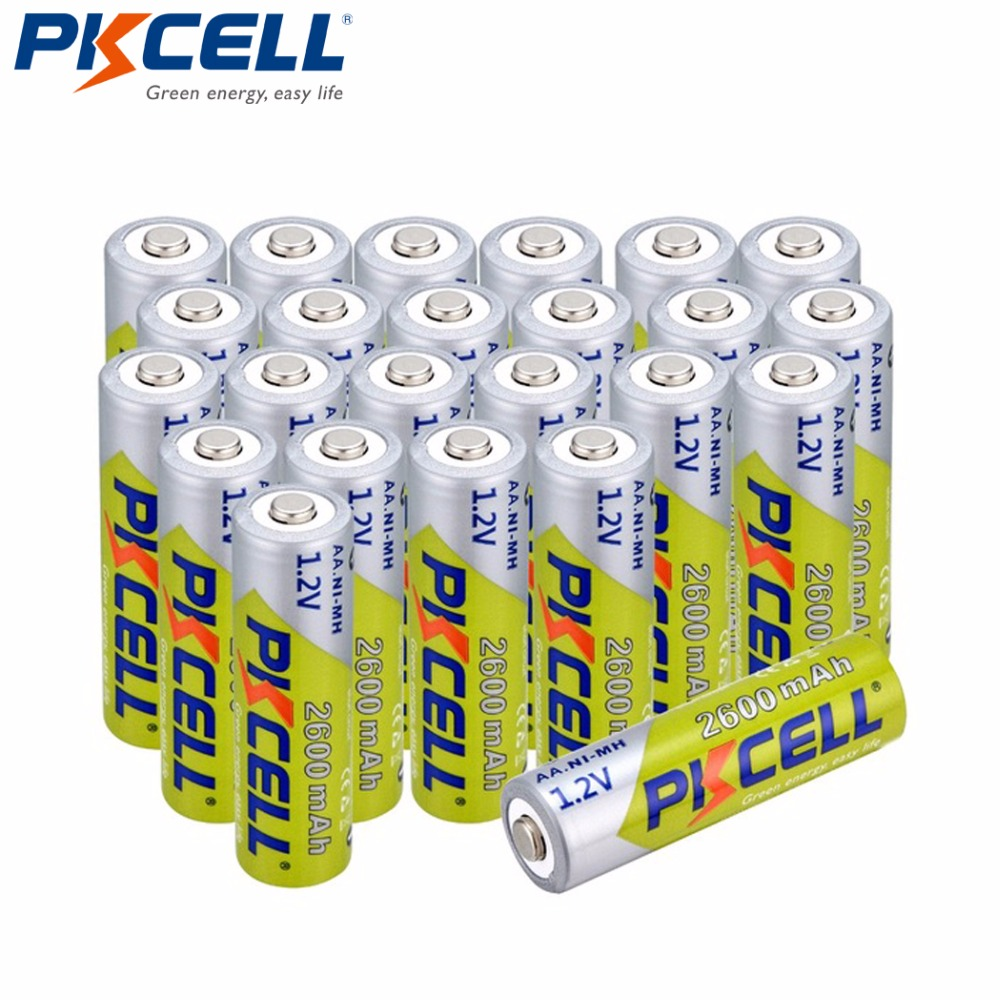 24Pcs*PKCELL Ni-MH AA 2300mah-2600mAh 1.2V 2A Rechargeable Battery for LED Lights Cameras Toys MP4 Player