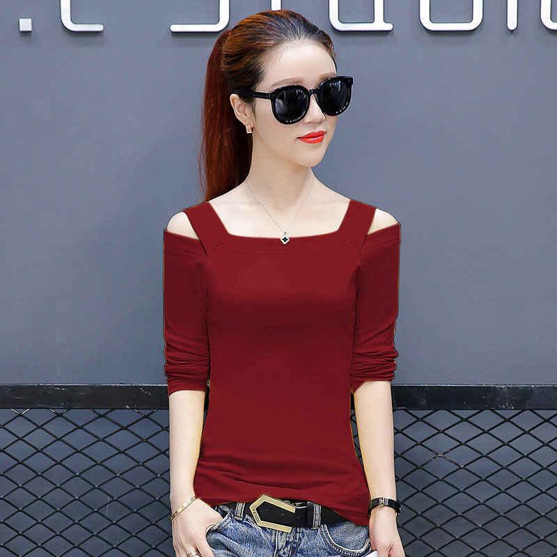Хлопковые футболки с длинными рукавами, женские модные базовые Топы, тонкие элегантные женские красные черные топы с вырезами открытое с открытыми плечами, футболки 4XL