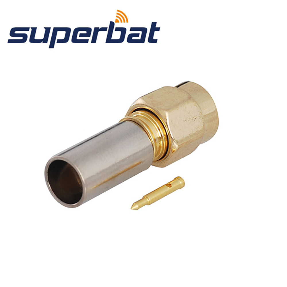 Superbat 10pcs Free Shipping RF SMA Connector Crimp male Plug Connector for Coaxial Cable RG59 LMR200