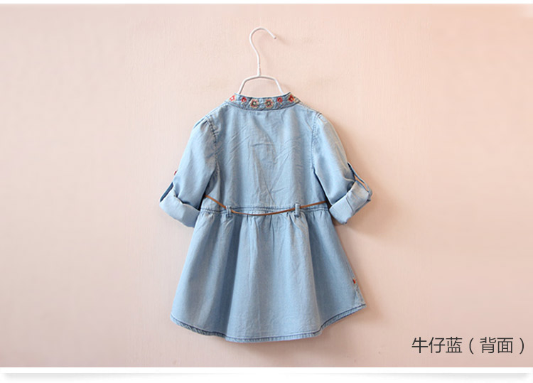 2018 Spring Autumn 3-12 Age Kids Embroidery Flower Long And Short Sleeve Double Use Denim Blue Elegant Dress For Girl With Belt (4)