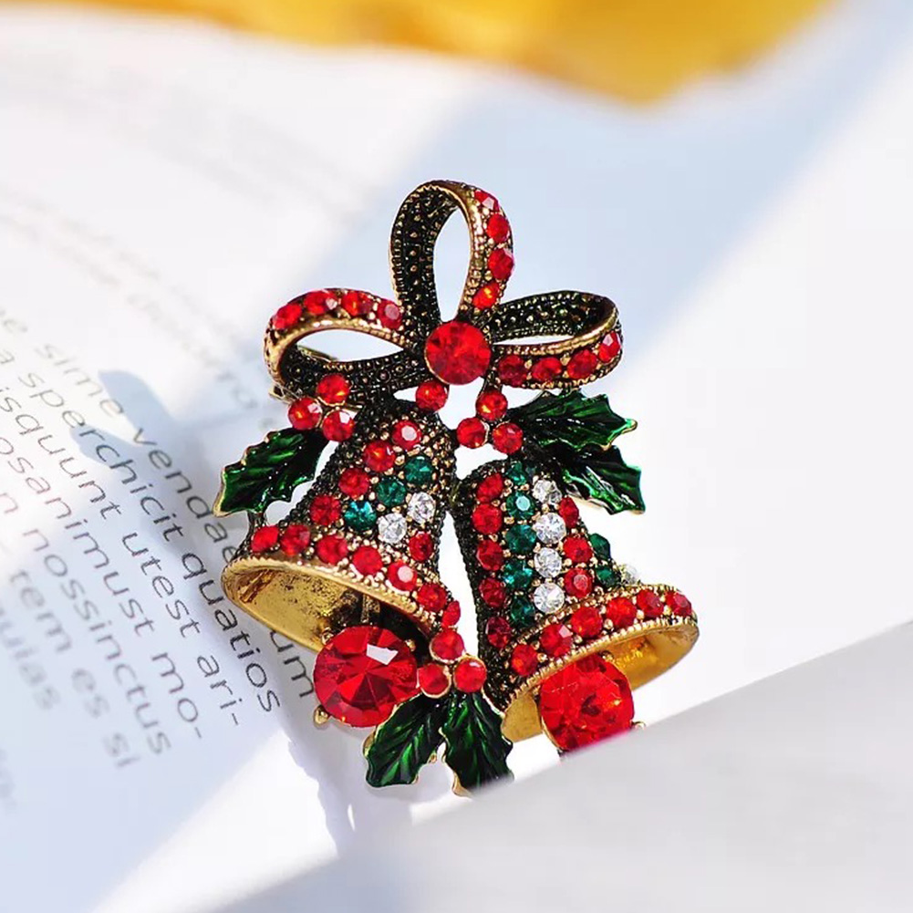 Rings Multicolor New Crystal Double Bells Fashion Christmas Bows Sleigh Bells Brooches Christmas Gifts Christmas Brooches For Women Refreshment
