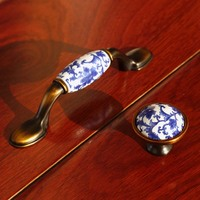 3 Rustico Retro Blue And White Porcelain Drawer Tv Cabinet Pulls Knobs Bronze Dresser Kitchen Cabinet
