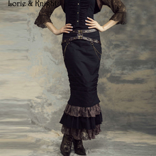 Women Steampunk Mermaid Long Skirt BLACK with Lace SP145BK