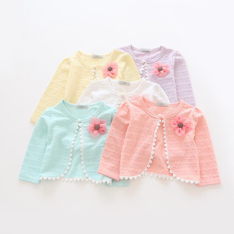 Anlencool 2017 Baby clothes coats of foreign children girls chest stereo little flowers one button cardigan children's sunscree